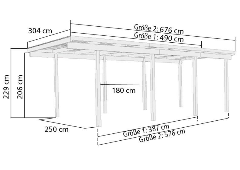 Karibu Holz Einzelcarport Eco 1 Variante B - kesseldruckimprägniert