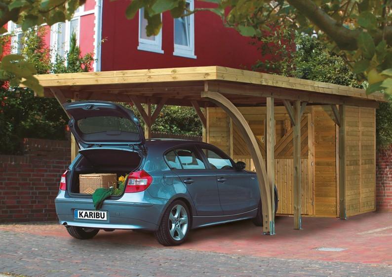 Karibu Holz Einzelcarport Classic 3 Variante C inkl. zwei Einfahrtsbögen - PVC Dach