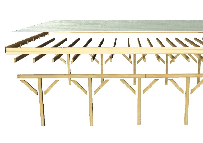 Karibu Holz Doppelcarport Classic 2 Variante A - PVC Dach