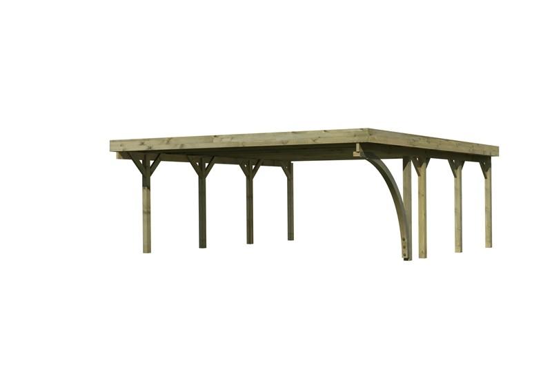 Karibu Holz Doppelcarport Classic 2 Variante B inkl. einem Einfahrtsbogen - PVC Dach