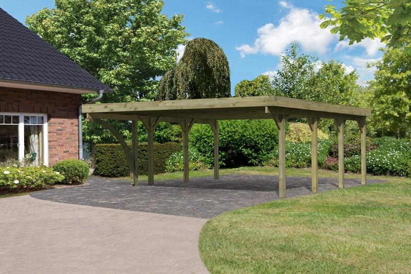 Karibu Holz Doppelcarport Classic 2 Variante B inkl. einem Einfahrtsbogen - Stahl Dach