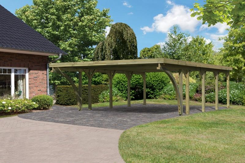 Karibu Holz Doppelcarport Classic 3 Variante C inkl. zwei Einfahrtsbögen - Stahl Dach