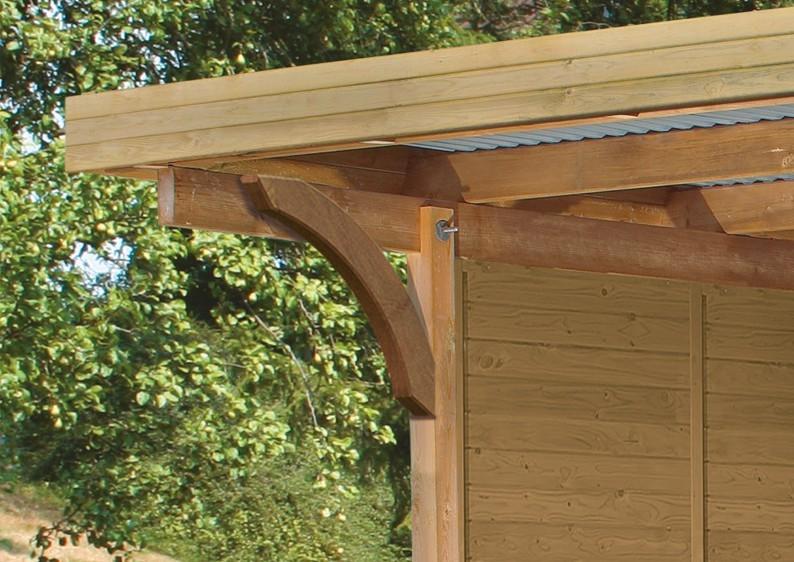 Karibu Holz Einzelcarport Premium 1 Variante C inkl. zwei Einfahrtsbögen - PVC Dach