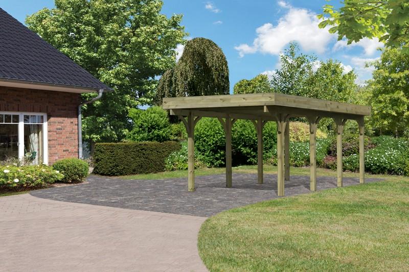 Karibu Holz Einzelcarport Premium 2 Variante A - PVC Dach