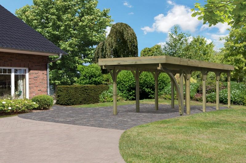 Karibu Holz Einzelcarport Premium 3 Variante B inkl. einem Einfahrtsbogen - PVC Dach