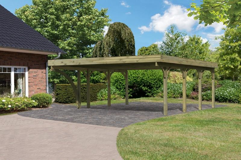 Karibu Holz Doppelcarport Premium 2 Variante B inkl. einem Einfahrtsbogen - PVC Dach