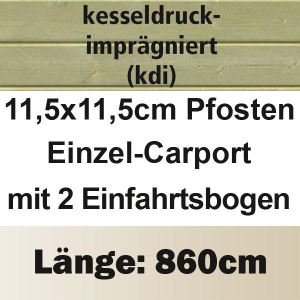 Karibu Holz Einzelcarport Premium 3 Variante C inkl. zwei Einfahrtsbögen - Stahl Dach