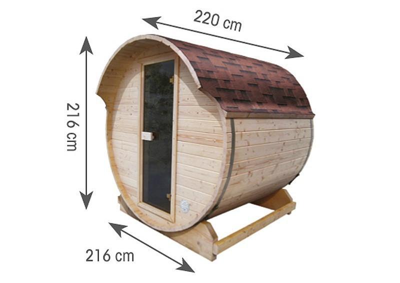 Karibu Gartensauna Fass-Sauna 1 inkl. Ofen 9 KW ext. Steuerung