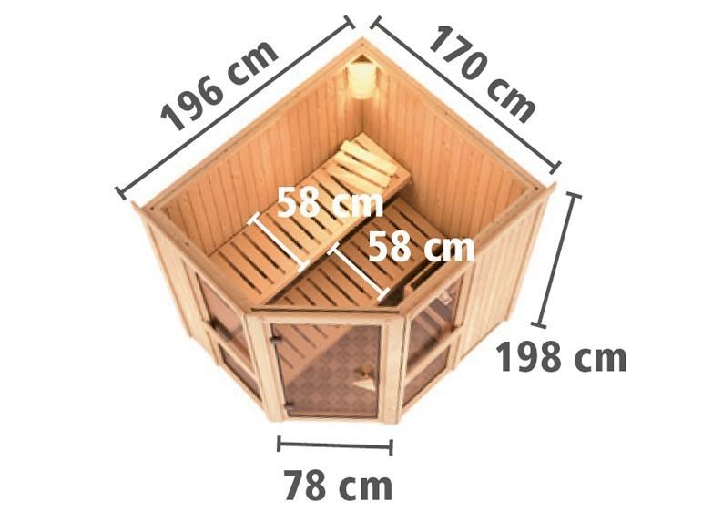 Karibu System Sauna Amelia 1 (Eckeinstieg) 68 mm  inkl. Ofen 9 kW Bio-Kombi ext. Steuerung