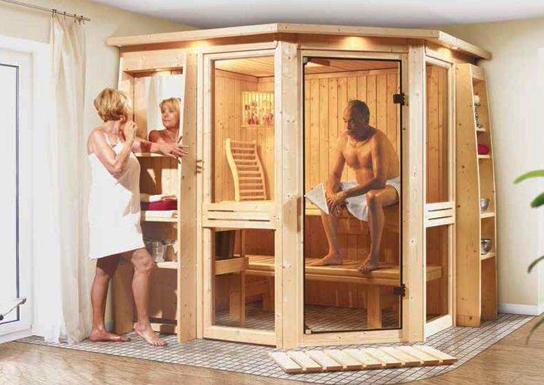 Sonderangebot: Karibu System Sauna Amelia 1 (Eckeinstieg)