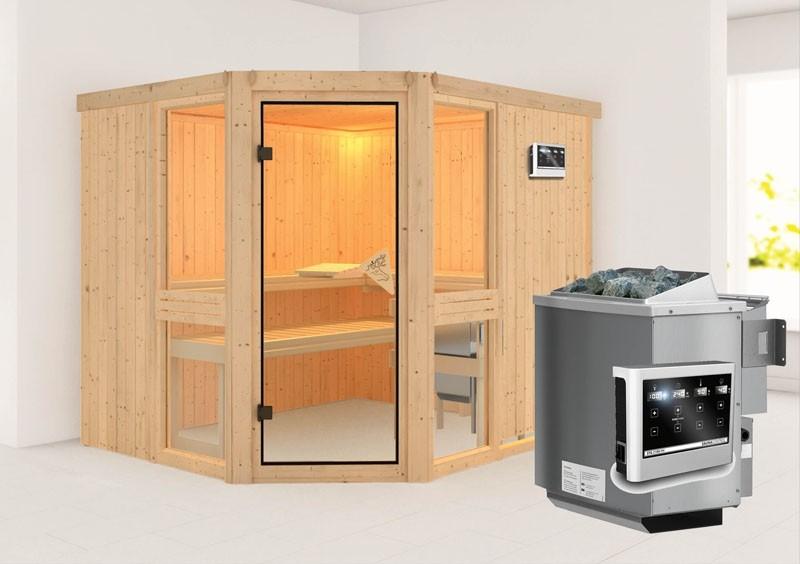 Karibu System Sauna Amelia 3 (Eckeinstieg) 68 mm  inkl. Ofen 9 kW Bio-Kombi ext. Steuerung