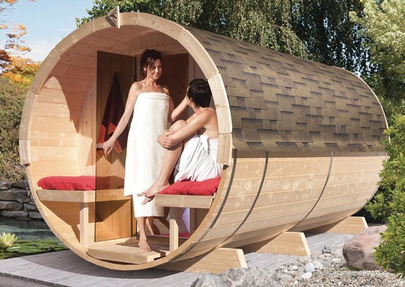 Karibu Gartensauna Fass-Sauna 4 mit Vorraum
