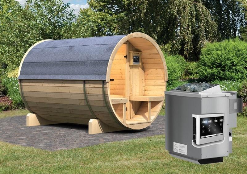 Karibu Gartensauna Fass-Sauna 2 mit Terrasse inkl. Ofen 9 kW Bio-Kombi ext. Steuerung