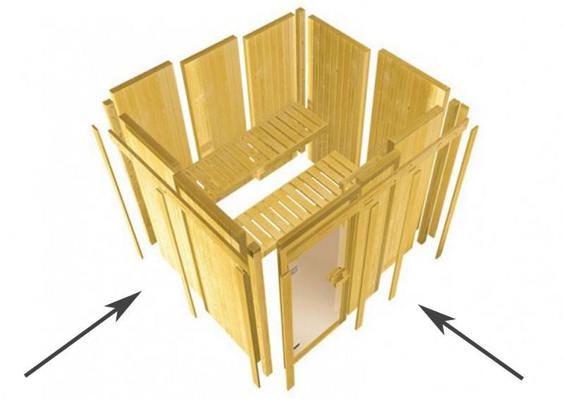 Karibu System Sauna Larin Classic (Eckeinstieg) 68 mm mit Dachkranz inkl. Ofen 9 kW ext. Steuerung