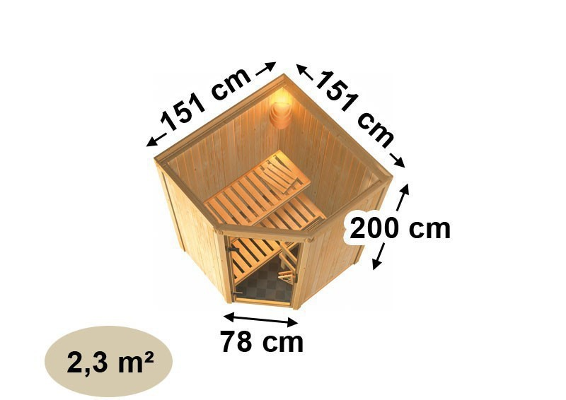 Karibu System Sauna Larin Classic (Eckeinstieg) 68 mm mit Dachkranz inkl. Biokombi-Ofen 9 kW ext. Steuerung