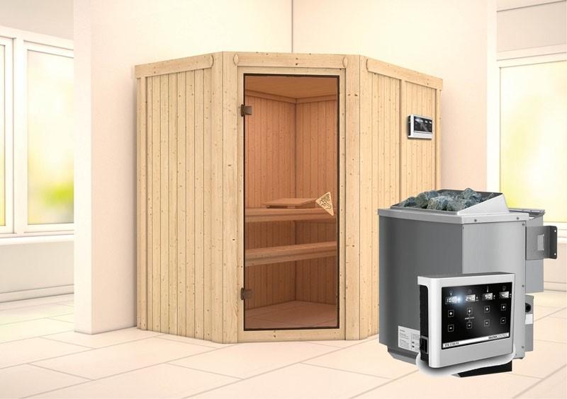 Karibu System Sauna Carin Classic (Eckeinstieg) 68 mm  inkl. Ofen 9 kW Bio-Kombi ext. Steuerung