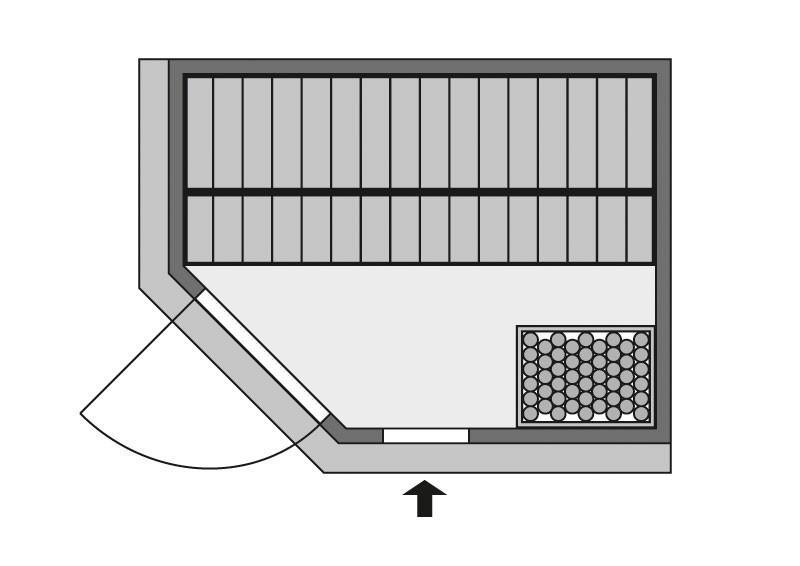 Karibu System Sauna Carin Classic (Eckeinstieg) 68 mm mit Dachkranz inkl. Ofen 9 kW mit integr. Steuerung