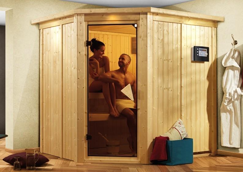 Karibu System Sauna Siirin Classic (Eckeinstieg) 68 mm inkl. Ofen 9 KW ext. Steuerung