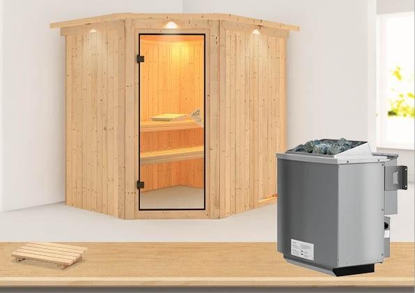 Karibu System Sauna Siirin Classic (Eckeinstieg) 68 mm mit Dachkranz inkl. Ofen 9 kW mit integr. Steuerung