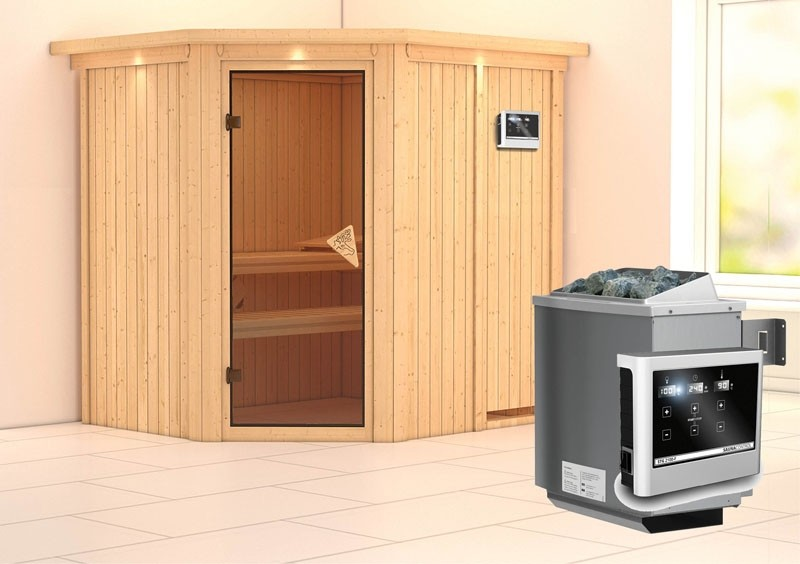Karibu System Sauna Siirin Classic (Eckeinstieg) 68 mm mit Dachkranz inkl. Ofen 9 KW ext. Steuerung