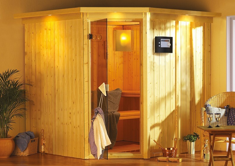 Karibu System Sauna Jarin Classic (Eckeinstieg) 68 mm inkl. Ofen 9 kW mit integr. Steuerung