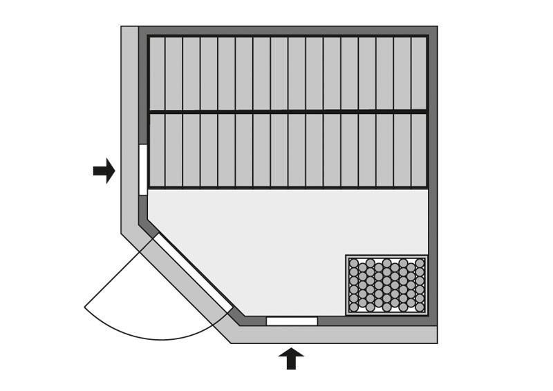 Karibu System Sauna Jarin Classic (Eckeinstieg) 68 mm  inkl. Ofen 9 kW Bio-Kombi ext. Steuerung