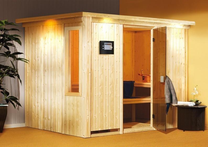 Karibu System Sauna Gobin Classic (Fronteinstieg) 68 mm mit Dachkranz inkl. Ofen 9 kW Bio-Kombi ext. Steuerung