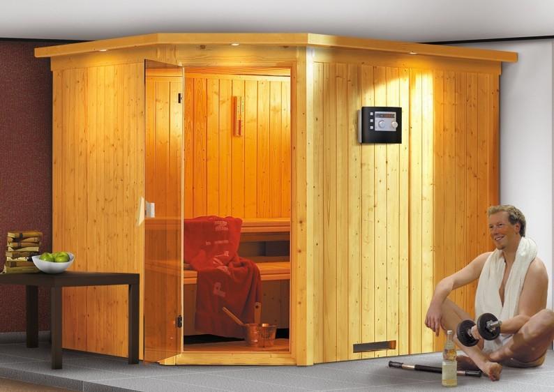 Karibu System Sauna Malin Classic (Eckeinstieg) 68 mm inkl. Ofen 9 KW ext. Steuerung