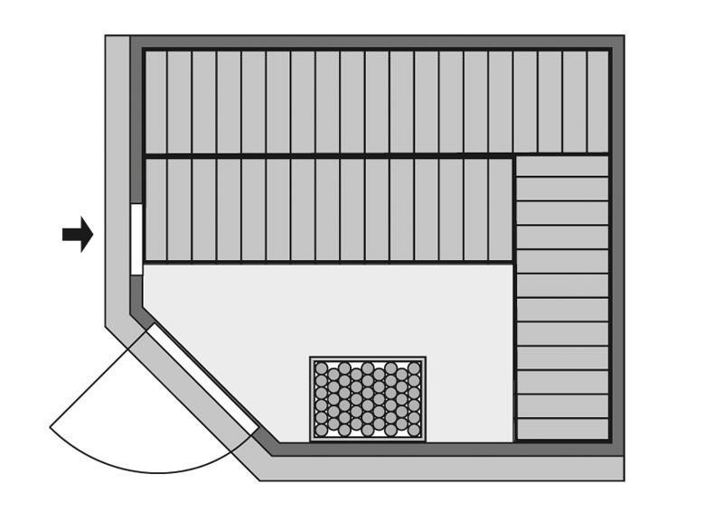 Karibu System Sauna Malin Classic (Eckeinstieg) 68 mm mit Dachkranz inkl. Ofen 9 KW ext. Steuerung