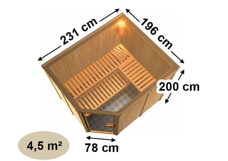 Karibu System Sauna Malin Classic (Eckeinstieg) 68 mm mit Dachkranz inkl. Ofen 9 kW Bio-Kombi ext. Steuerung