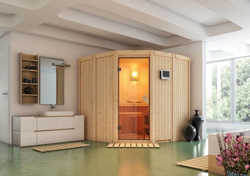 Karibu System Sauna Simara 1 (Eckeinstieg) 68 mm ohne Fenster inkl. Ofen 9 kW mit integr. Steuerung