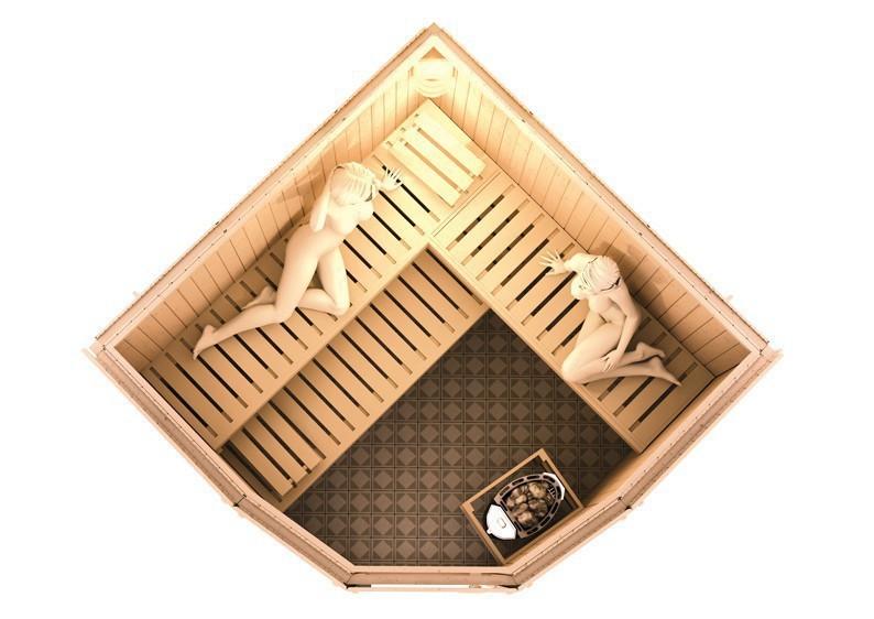 Karibu System Sauna Simara 1 (Eckeinstieg) 68 mm mit Fenster inkl. Ofen 9 KW ext. Steuerung