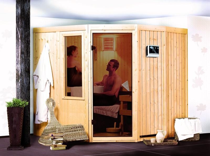 Karibu System Sauna Simara 1 (Eckeinstieg) 68 mm mit Fenster inkl. Ofen 9 kW Bio-Kombi ext. Steuerung