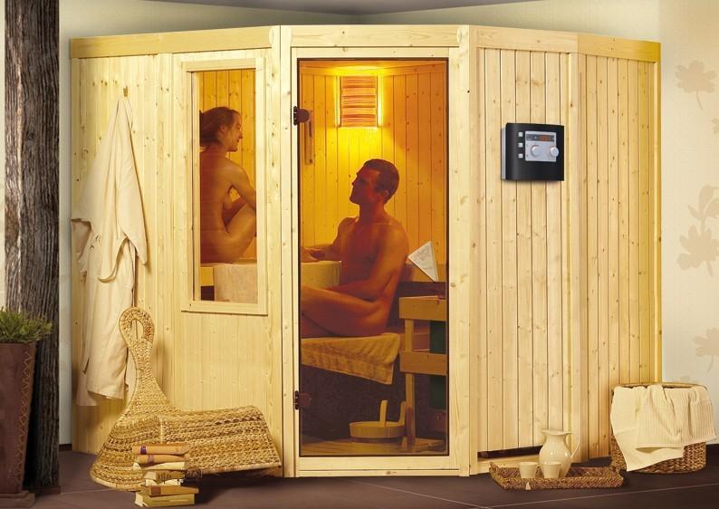 Karibu System Sauna Simara 3 (Eckeinstieg) 68 mm ohne Fenster inkl. Ofen 9 KW ext. Steuerung