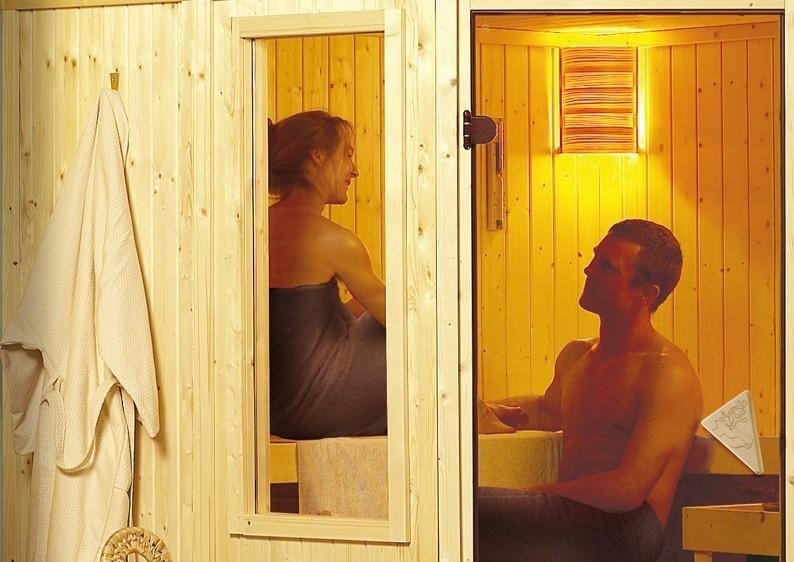 Karibu System Sauna Simara 3 (Eckeinstieg) 68 mm mit Fenster inkl. Ofen 9 kW mit integr. Steuerung