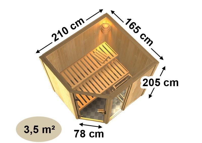 Karibu System Sauna Fiona 1 mit Dachkranz (Eckeinstieg) 68 mm  inkl. Ofen 9 kW Bio-Kombi ext. Steuerung