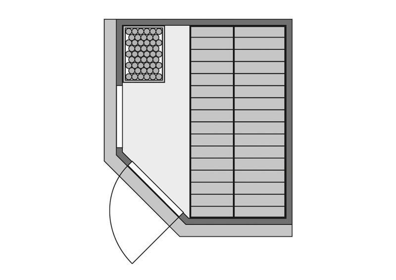 Karibu System Sauna Fiona 2 mit Dachkranz (Eckeinstieg) 68 mm inkl. Ofen 9 kW mit integr. Steuerung