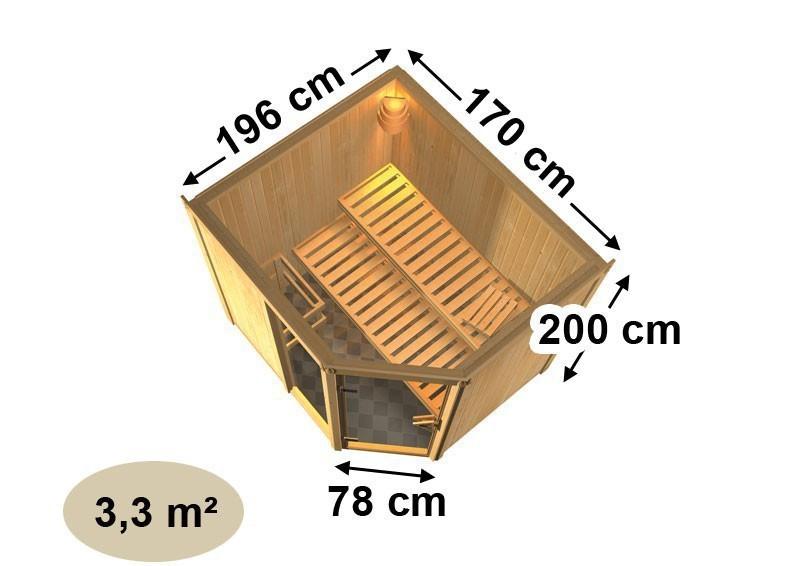 Karibu System Sauna Fiona 2 mit Dachkranz (Eckeinstieg) 68 mm  inkl. Ofen 9 kW Bio-Kombi ext. Steuerung
