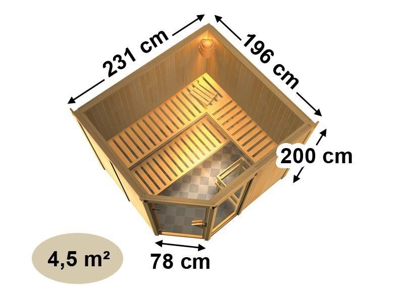 Karibu System Sauna Fiona 3 (Eckeinstieg) 68 mm mit Dachkranz inkl. Ofen 9 kW mit integr. Steuerung