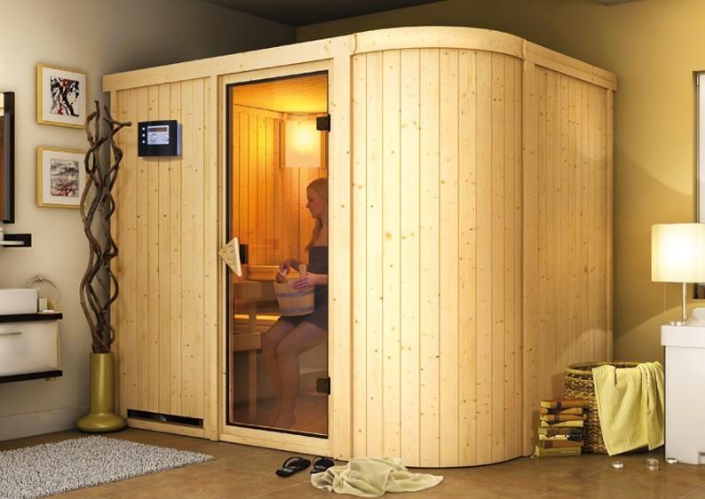 Karibu System Sauna Titania 4 (Fronteinstieg) 68 mm  inkl. Ofen 9 kW Bio-Kombi ext. Steuerung