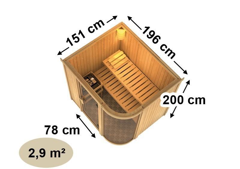 Karibu System Sauna Parima 2 (Fronteinstieg) 68 mm  inkl. Ofen 9 kW Bio-Kombi ext. Steuerung