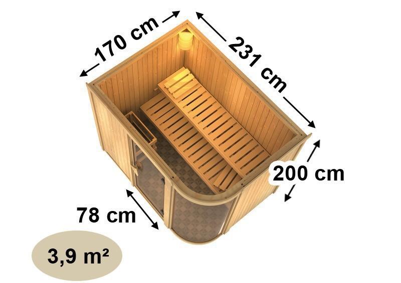 Karibu System Sauna Parima 4 (Fronteinstieg) 68 mm  inkl. Ofen 9 kW Bio-Kombi ext. Steuerung