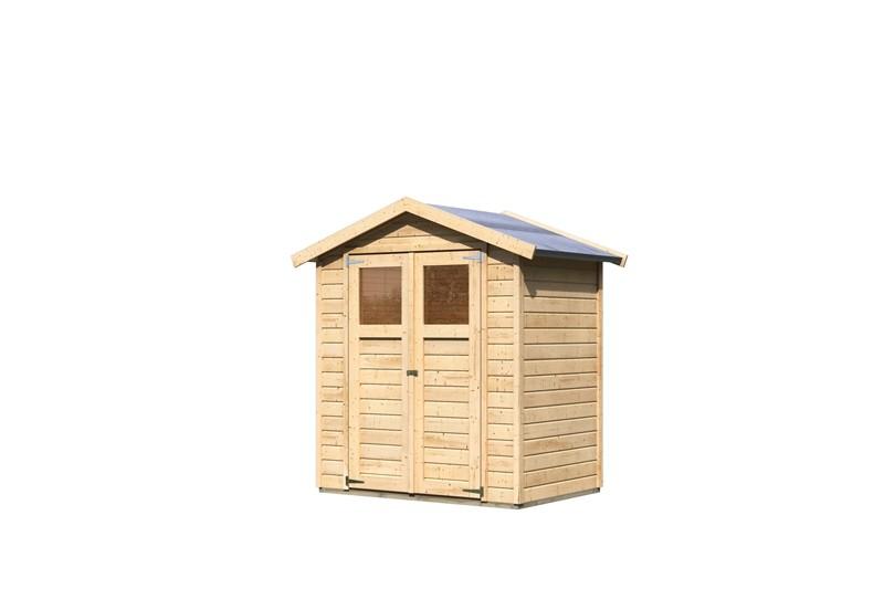 Karibu Holz-Gartenhaus Dahme 1    - 14 mm Gerätehaus in Systembauweise - naturbelassen