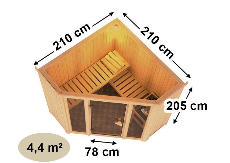 Karibu System Sauna Flora 1 Ganzglas (Fronteinstieg) 68 mm inkl. Ofen 9 KW ext. Steuerung