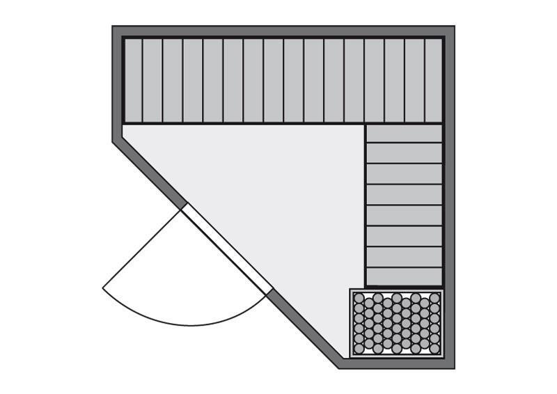 Karibu System Sauna Flora 1 Ganzglas (Fronteinstieg) 68 mm mit Dachkranz inkl. Ofen 9 kW mit integr. Steuerung