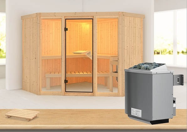 Karibu System Sauna Flora 2 Ganzglas (Fronteinstieg) 68 mm inkl. Ofen 9 kW mit integr. Steuerung