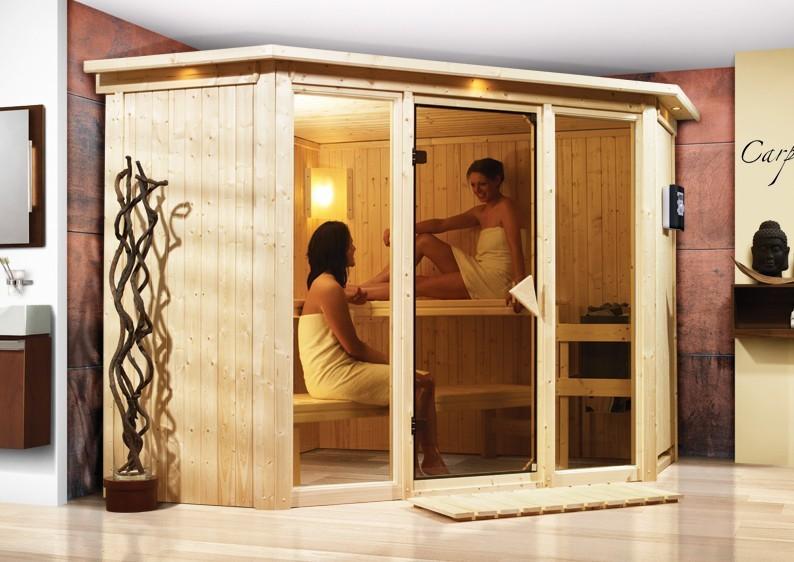 Karibu System Sauna Flora 2 Ganzglas (Fronteinstieg) 68 mm mit Dachkranz inkl. Ofen 9 kW mit integr. Steuerung