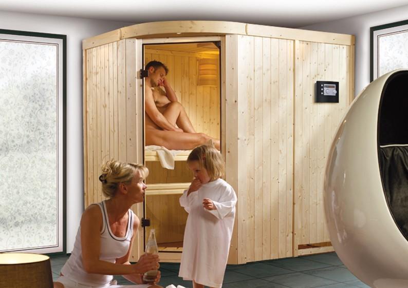 Karibu System Sauna Lavea (Rundeinstieg) 68 mm inkl. Ofen 9 kW mit integr. Steuerung