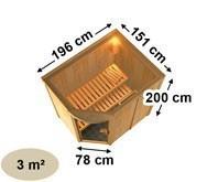 Karibu System Sauna Lavea (Rundeinstieg) 68 mm inkl. Ofen 9 KW ext. Steuerung