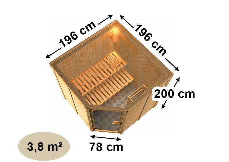 Karibu System Sauna Aukura (Rundeinstieg) 68 mm inkl. Ofen 9 KW ext. Steuerung